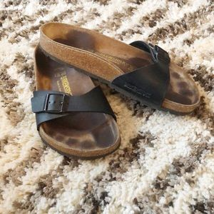 Birkenstock Madrid Slides Sandals Black Leather 7